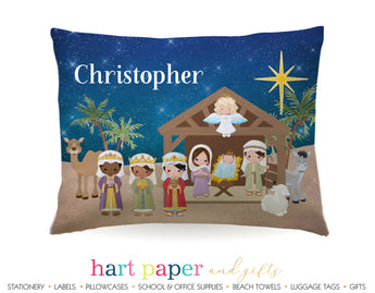 Nativity Scene Personalized Pillowcase Pillowcases - Everything Nice