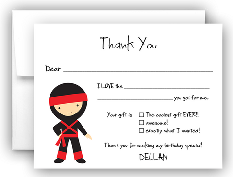 Ninja Karate Thank You Cards Note Card Stationery •  Fill In the Blank Stationery Thank You Cards - Everything Nice