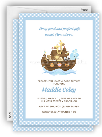 Noah's Ark Party Invitation • Baby Shower Birthday Baptism • Any Colors