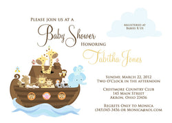 Noah's Ark Party Invitation • Baby Shower Birthday Baptism • Any Colors Baby Shower Invitations - Everything Nice