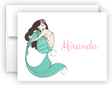 Mermaid c Thank You Cards Note Card Stationery •  Flat or Folded Stationery Thank You Cards - Everything Nice