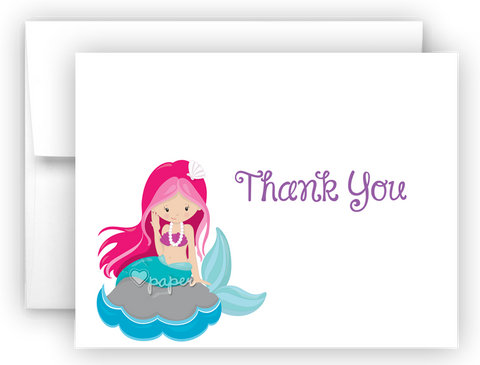 Mermaid b Thank You Cards Note Card Stationery •  Flat, Folded or Fill-In-the-Blank Stationery Thank You Cards - Everything Nice