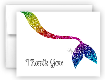Rainbow Mermaid Tail Thank You Cards Note Card Stationery •  Flat or Folded Stationery Thank You Cards - Everything Nice