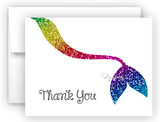 Rainbow Mermaid Tail Thank You Cards Note Card Stationery •  Flat, Folded or Fill-In-the-Blank