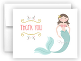 Mermaid j Thank You Cards Note Card Stationery •  Flat or Folded Stationery Thank You Cards - Everything Nice