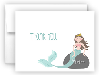Mermaid f Thank You Cards Note Card Stationery •  Flat or Folded Stationery Thank You Cards - Everything Nice