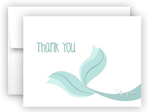Mermaid Tail c Thank You Cards Note Card Stationery •  Flat, Folded or Fill-In-the-Blank