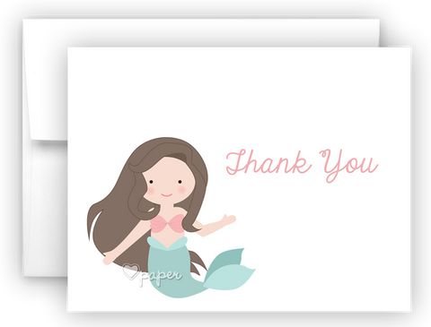 Mermaid Thank You Cards Note Card Stationery •  Flat or Folded Stationery Thank You Cards - Everything Nice