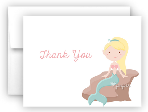 Mermaid e Thank You Cards Note Card Stationery •  Flat, Folded or Fill-In-the-Blank Stationery Thank You Cards - Everything Nice