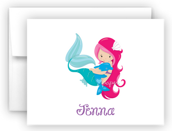 Mermaid with Dolphin Thank You Cards Note Card Stationery •  Flat or Folded Stationery Thank You Cards - Everything Nice