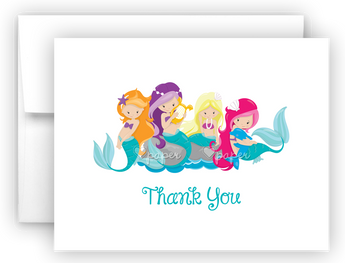 Mermaid i Thank You Cards Note Card Stationery •  Flat or Folded Stationery Thank You Cards - Everything Nice