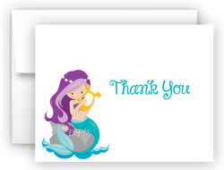 Mermaid d Thank You Cards Note Card Stationery •  Flat, Folded or Fill-In-the-Blank Stationery Thank You Cards - Everything Nice