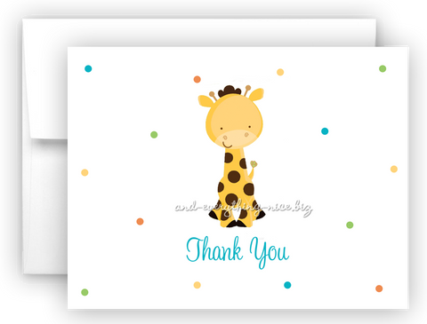 Polka Dot Giraffe Thank You Cards Note Card Stationery •  Flat or Folded Stationery Thank You Cards - Everything Nice