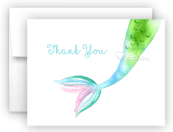 Mermaid Tail e Thank You Cards Note Card Stationery •  Flat or Folded Stationery Thank You Cards - Everything Nice