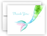 Mermaid Tail e Thank You Cards Note Card Stationery •  Flat, Folded or Fill-In-the-Blank Stationery Thank You Cards - Everything Nice