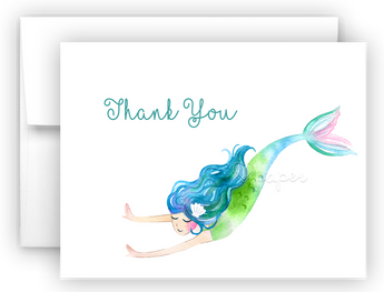 Mermaid L Thank You Cards Note Card Stationery •  Flat or Folded Stationery Thank You Cards - Everything Nice
