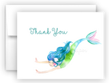 Mermaid L Thank You Cards Note Card Stationery •  Flat, Folded or Fill-In-the-Blank