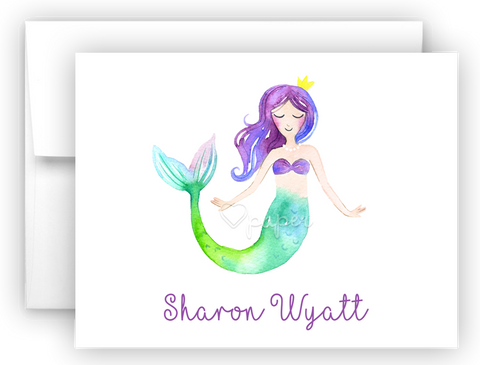 Mermaid k Thank You Cards Note Card Stationery •  Flat, Folded or Fill-In-the-Blank Stationery Thank You Cards - Everything Nice