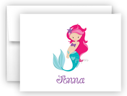 Mermaid h Thank You Cards Note Card Stationery •  Flat, Folded or Fill-In-the-Blank Stationery Thank You Cards - Everything Nice