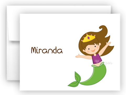 Mermaid g Thank You Cards Note Card Stationery •  Flat or Folded Stationery Thank You Cards - Everything Nice