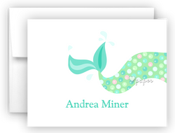 Mermaid Tail d Thank You Cards Note Card Stationery •  Flat, Folded or Fill-In-the-Blank Stationery Thank You Cards - Everything Nice