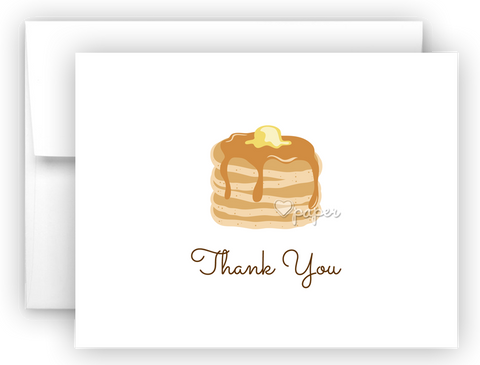Pancakes Thank You Cards Note Card Stationery •  Flat or Folded Stationery Thank You Cards - Everything Nice