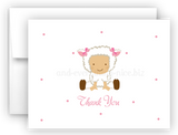 Baby Lamb Printed Thank You Cards • Folded Flat Note Card Stationery Stationery Thank You Cards - Everything Nice