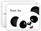 Panda Bear d Printed Thank You Cards • Folded Flat Note Card Stationery Stationery Thank You Cards - Everything Nice