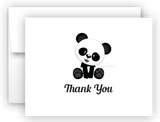 Panda Bear f Printed Thank You Cards • Folded Flat Note Card Stationery Stationery Thank You Cards - Everything Nice