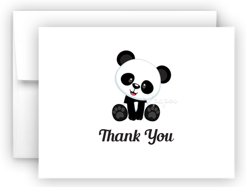Panda Bear e Printed Thank You Cards • Folded Flat Note Card Stationery Stationery Thank You Cards - Everything Nice