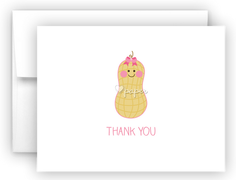 Peanut Printed Thank You Cards • Folded Flat Note Card Stationery Stationery Thank You Cards - Everything Nice