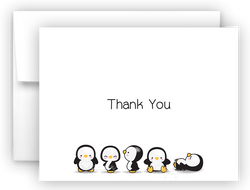 Penguin Thank You Cards Note Card Stationery •  Flat, Folded or Fill-In-the-Blank