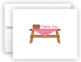 Picnic Table Printed Thank You Cards • Folded Flat Note Card Stationery