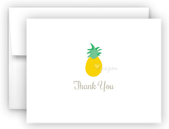 Pineapple II Thank You Cards Note Card Stationery •  Flat or Folded Stationery Thank You Cards - Everything Nice
