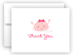 Pink Crab Thank You Cards Note Card Stationery •  Flat, Folded or Fill-In-the-Blank