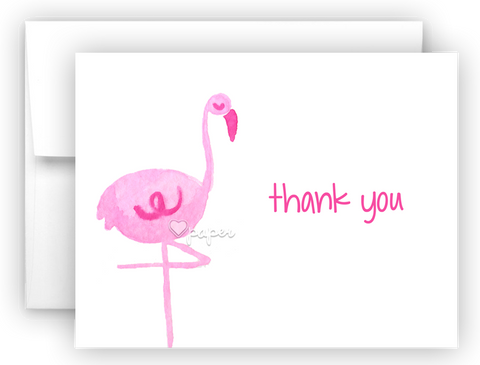 Pink Flamingo II Thank You Cards Note Card Stationery •  Flat or Folded Stationery Thank You Cards - Everything Nice