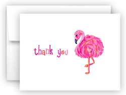 Sassy Pink Flamingo Thank You Cards Note Card Stationery •  Flat, Folded or Fill-In-the-Blank Stationery Thank You Cards - Everything Nice