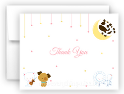 Hey Diddle Diddle Nursery Rhyme Printed Thank You Cards • Folded Flat Note Card Stationery Stationery Thank You Cards - Everything Nice