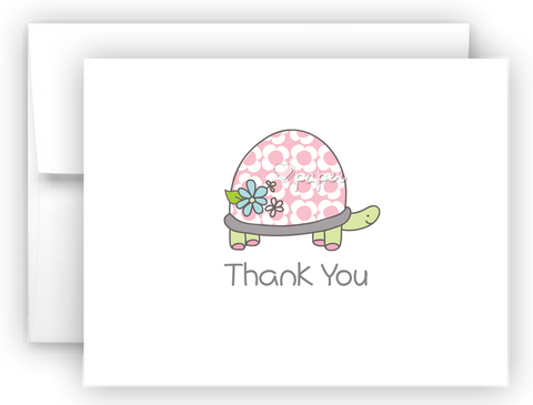 Pink Turtle Thank You Cards Note Card Stationery •  Flat or Folded Stationery Thank You Cards - Everything Nice