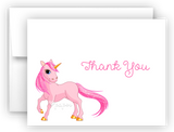 Pink Unicorn Thank You Cards Note Card Stationery •  Flat or Folded Stationery Thank You Cards - Everything Nice