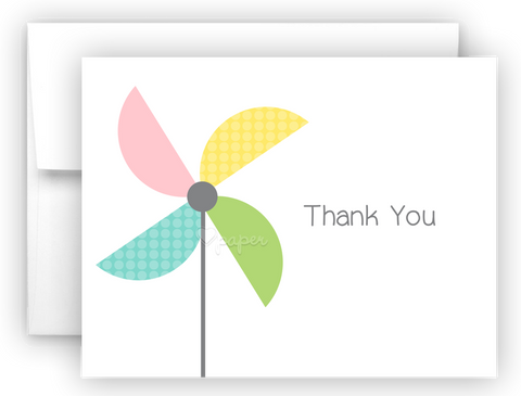 Pinwheel Thank You Cards Note Card Stationery •  Flat or Folded Stationery Thank You Cards - Everything Nice