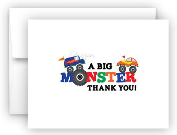 Monster Truck Thank You Cards Note Card Stationery •  Flat or Folded Stationery Thank You Cards - Everything Nice