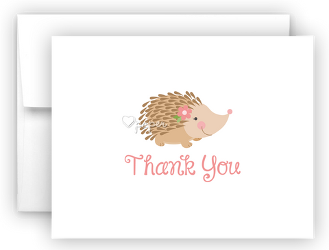 Porcupine Thank You Cards Note Card Stationery •  Flat, Folded or Fill-In-the-Blank