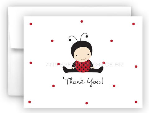 Baby Ladybug Lady Bug Printed Thank You Cards • Folded Flat Note Card Stationery Stationery Thank You Cards - Everything Nice