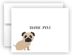 Pug Dog Thank You Cards Note Card Stationery •  Flat, Folded or Fill-In-the-Blank