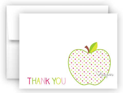 Polka Dot Apple Thank You Cards Note Card Stationery •  Flat or Folded Stationery Thank You Cards - Everything Nice