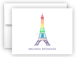 Rainbow Eiffel Tower Thank You Cards Note Card Stationery •  Flat, Folded or Fill-In-the-Blank