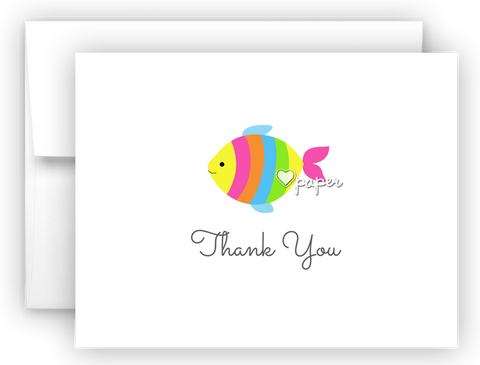 Rainbow Fish Thank You Cards Note Card Stationery •  Flat, Folded or Fill-In-the-Blank