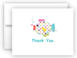 Polka Dot Rainbow Fish Thank You Cards Note Card Stationery •  Flat, Folded or Fill-In-the-Blank