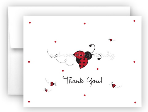 Ladybug Lady Bug Thank You Cards Note Card Stationery •  Flat, Folded or Fill-In-the-Blank Stationery Thank You Cards - Everything Nice